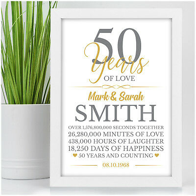 50th Wedding Anniversary Gifts 50 Years Personalised Golden Wedding