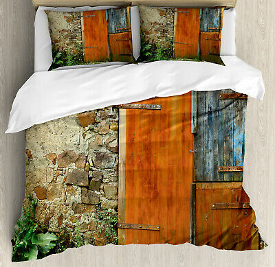 Rustic Duvet Cover Set with Pillow Shams Old French Wooden Door Print