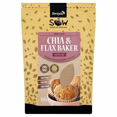4x Sow Chia Flour Bake Blend with Flax Seeds 500g