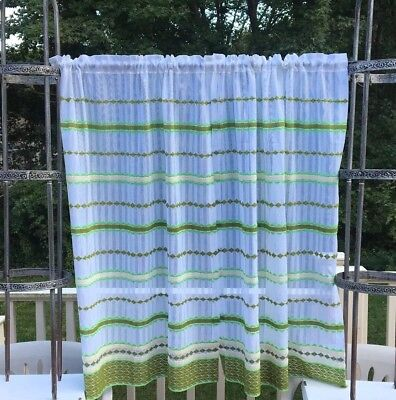 Vintage Beacom Looms Curtain Panels 70's Embroidered Avocado Lime Funky Boho