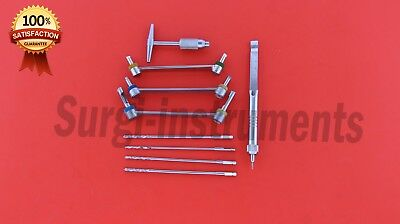 Depth Gauge Drill Guide Drill Bit And Quick Coupling Handle 09 Pcs Orthopaedic