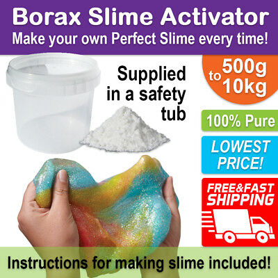 BORAX Slime Activator Maker 500g-10kg in a SAFETY TUB - Pure for Perfect Slime