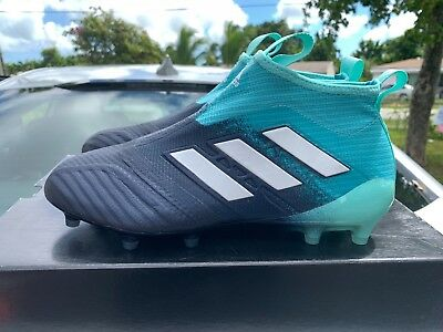ed39c732df7 adidas Men s ACE 17+ PURECONTROL FG Energy Aqua White Legend Ink BY3063 Size