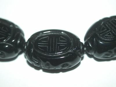 Vintage Carved Chinese Black Onyx Bead Shou Design 25mm x 18mm x 10mm Flat Oval