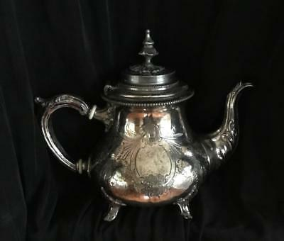 Etched Embossed Antique Silverplate Teapot~Sheffield