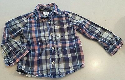 EUC Baby Toddler Boys CARTER'S Plaid Blue EASTER SPRING Dress Shirt 24 mos