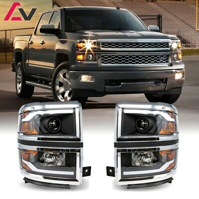 14-15 Chevy Silverado Projector Headlights LED Switchback Sequential DRL Bar
