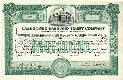 1927 PENNSYLVANIA Lansdowne Bank and Trust Company Stock Certificate