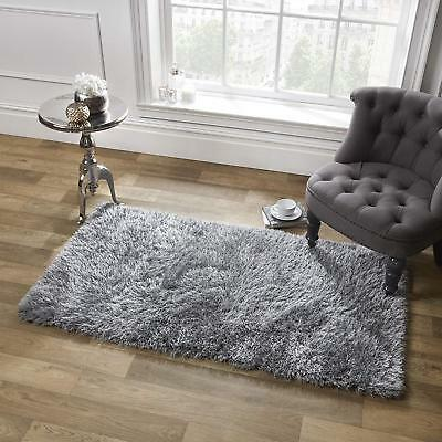 Sienna Large Shaggy Floor Rug Soft Area Mat 5cm Thick Modern Carpet Plain Grey