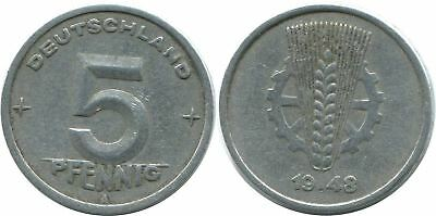5 Pfennig 1948 A Ddr Germany @ae026.1Ds