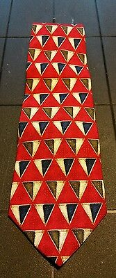 Mens Jos A Bank Corporate Collection Red Necktie Tie Geometric Silk Made In USA