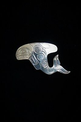 First Nations Original Hand Engraved Silver Orca / Killer Whale Pendant 1990's