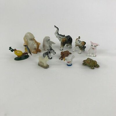 Lot of 11 Vintage Miniature Animals Figures Assorted Animals and Materials