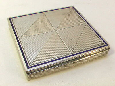 SCATOLA ARGENTO ANTICA ART DECO SMALTI 1935 Antique Silver Enamel Square Box