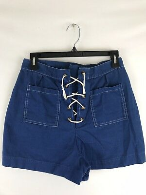 Vtg High Waist Lace Up Sailor Shorts 1960s Navy Blue And White