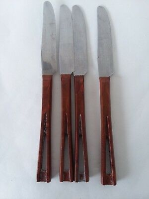 Vtg Stanley Stainless Light Brown Cut Out Handle Lot of 4 Dinner Knives