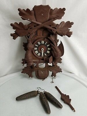 Vintage German Musical Cuckoo Clock Deer Elk Head Carved Style Hunting Scene