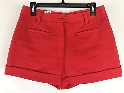 Vtg Ployester Red Shorts Hot Pants High Waist 30in 1960s