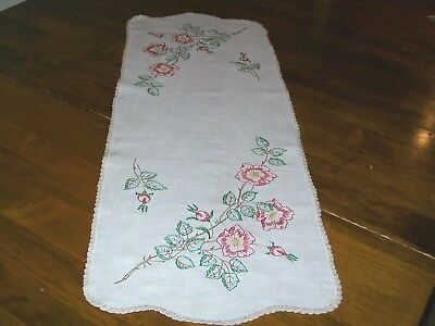 Vintage Embroidered Table Runner/Dresser Scarf  Crocheted Edge-Red Flowers