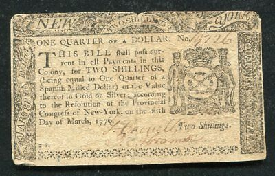 Ny-187 March 5, 1776 $1/4 One Quarter Dollar New York Colonial Currency Note