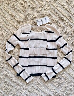 Bnwt Zara Knit Black & White Cream Stripe Ribbed Cut Out Cropped Sweater Top S M