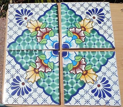 10 Talavera Mexican Pottery 4 Tile Classic 4 Make A Pattern Green Pale Blue Latin American Collectibles