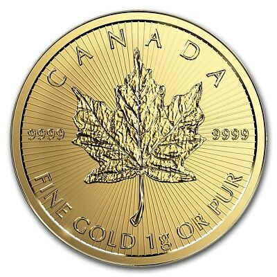 Gold Coin Canadian Maple Leaf 2019 - 1g (gram) 99.99% pure gold