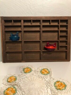 Vintage heavy wood shadow box 24 openings antique from Granny's Estate