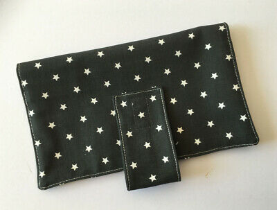 Handmade nappy wipe changing pouch holder wallet- Stars on grey & polka dots