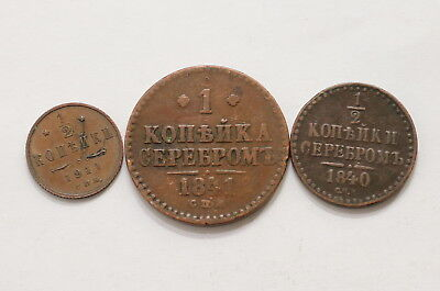 Russia 3 Old Kopeks Coins A98 Rv33