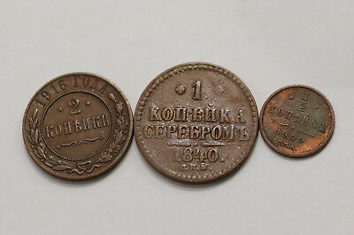 Russia 3 Old Kopeks Coins A98 Rbb19