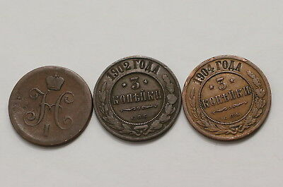 Russia 1 + 3 Kopeks - 3 Old Coins A98 Rw27