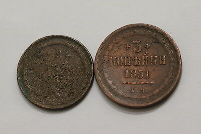 Russia 2 Old Copper Coins A98 Rw10