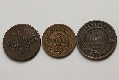 Russia 1/2/3 Kopeks Old Coins A98 Rw30