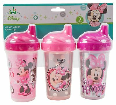 Disney Minnie Mouse Sippy Cups, Pink, 3 Count