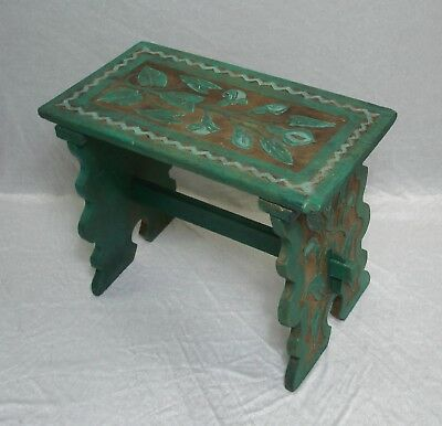 1920s BENCH Melkmaid Stool shabby Turquoise Primitive Cottace Chic Germany