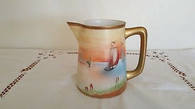 "Antique 1891 Japanese Nippon 5.5"" Tall Hand-Painted Pitcher with Sailboat Design"