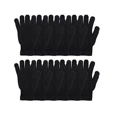 12pairs Men's Women Winter Warmer Knit Black Thermal Casual Gloves Stretch Lot