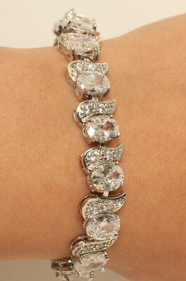 2c51356c71a 14k White Gold Finish Oval Cut Diamond Tennis Bracelet Women Anniversary 3ct