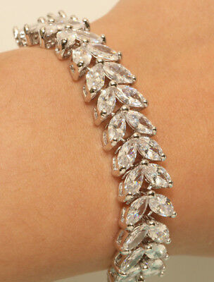 cb58f236084 14k White Gold FInish Marquise Diamond Tennis Bracelet 3ct Very Beautiful