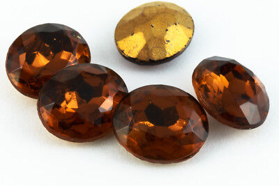 10mm x 12mm Dark Topaz Faceted Oval Point Back Cabochon #XGP008-C