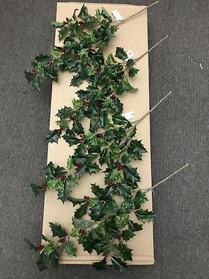 4x 50cm Realistic Holly Stems Plastic Berries Artificial Fake Christmas Foliage