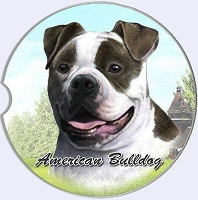 American Bulldog Sandstone Absorbent Dog Breed Car Coaster