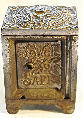 RARE Antique Jewel Safe Cast Iron Bank Highly Ornate Vtg J E Stevens Still