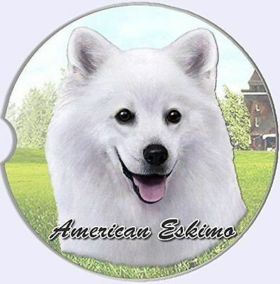 American Eskimo Sandstone Absorbent Dog Breed Car Coaster