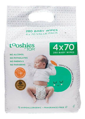 Pure Baby Wipes (Value Pack) 4x70 - Tooshies by TOM