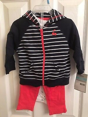 Carters Baby Girls 3-Piece Cardigan Set Size 9 Months Cherries NWT
