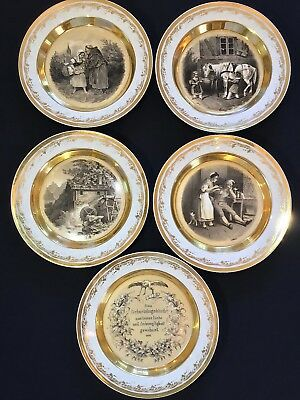 "KPM Berlin Early Signed Pictorial Print 7"" Cabinet Plates (5) c.1836"