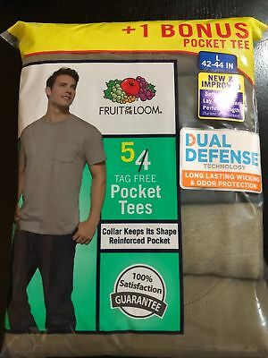 Fruit of The Loom Pocket Tee 5 Pack M-L-XL