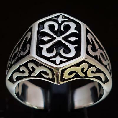 Sterling Silver Mens Signet Ring Ancient Celtic Cross Coat Of Arms Any Size